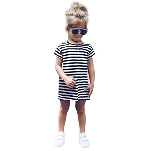 FEITONG Toddler Little Girl Casual Short Sleeve Party Striped Princess Dresses (1-2Years, Black)