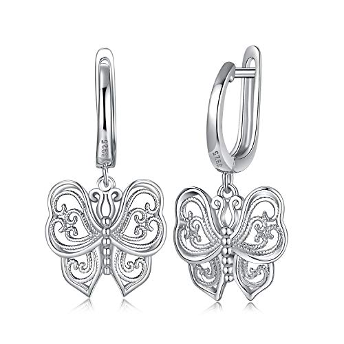 JewelryPalace Vintage Filigree Hollow Butterfly Drop Hoop Earrings 925 Sterling Silver