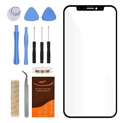 Original Replacement 100% Real Glass Outer Screen Front Glass Lens for iPhone X (Black)