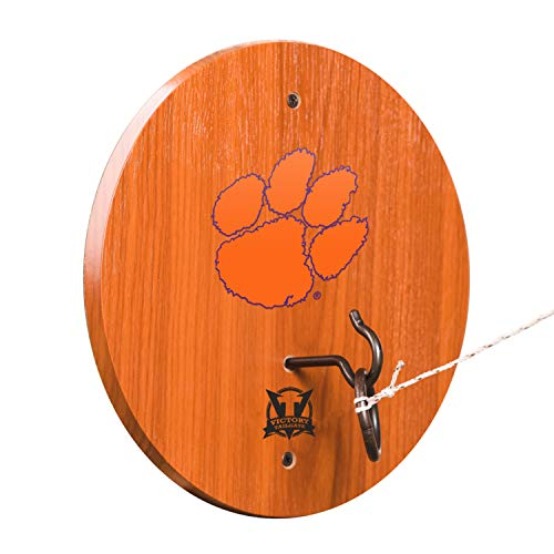 Victory Tailgate Clemson Tigers Hook & Ring Toss - All Wood Target with Rubbed Bronze Hook and Ring - More Colleges Available Clemson Tigers Tailgate Toss
