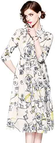 a38b3088372 Womens Collared Neck Floral Print 3 4 Sleeve Casual A Line Midi Dress with  Belt