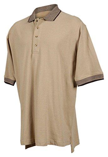 (Tri-mountain Mens cotton pique golf shirt with jacquard trim. - KHAKI / BLACK - XLT )