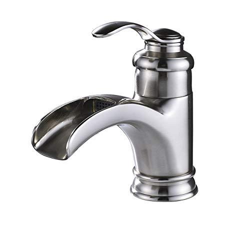 Rozin Bathroom Waterfall Spout Vanity Sink Faucet Single Handle Basin Mixer Tap Brushed Nickel