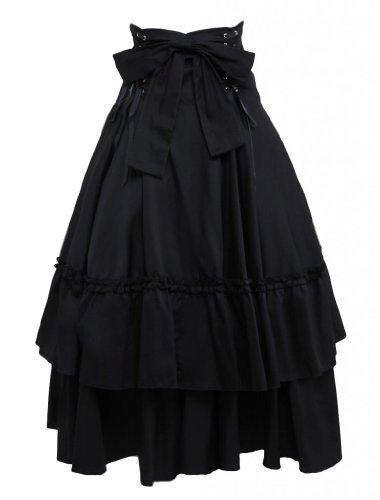 M4U Womens Cotton Black Polka Ruffled Lace Bottom Lolita Skirt,Black,Medium