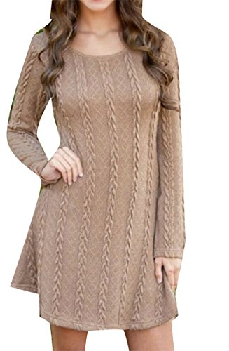 Sleeve Knitted Womens line Weave Long Crewneck Brown Solid Dress A Mini Cromoncent Midi qOSFInq