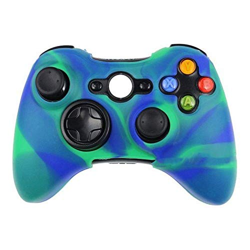 Silicone Protective Skin Case Cover for Microsoft Xbox 360 Wireless / Wired Controller + Thumb Sticks Caps Grips,Green Blue