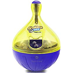 SunGrow Treat Ball for Dogs & Cats - for IQ and Mental Stimulation - Slow Eating Prevents Obesity, Improves Digestion - Bell jingles and attracts pet's Attention - Fun & Interactive Food Dispenser