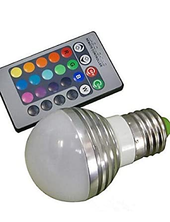 LPZSQ E27 85V-265V 100-180Lm 3W RGB Remote Control LED Colorful Bulbs, rgb-85-265v