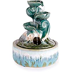 Wind & Weather Ceramic Seashell Indoor Fountain - 11.25 L x 11.25 W x 15.25 H