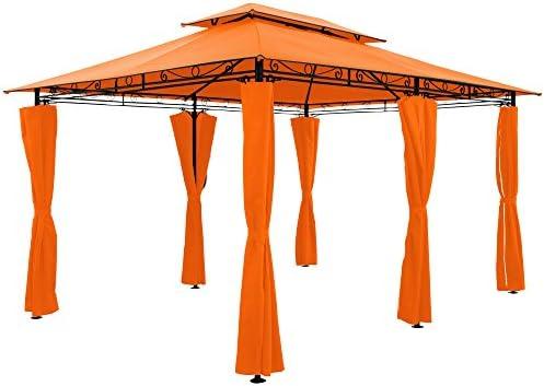 Toldo tipo gazebo de 4 x 3 m para fiestas en el jardín, al aire libre, recepción (ventilación, color a elección), naranja: Amazon.es: Jardín
