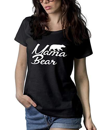Womens Black Mama Bear Shirt - Short Sleeve Mom Tshirt | Mama Bear, S