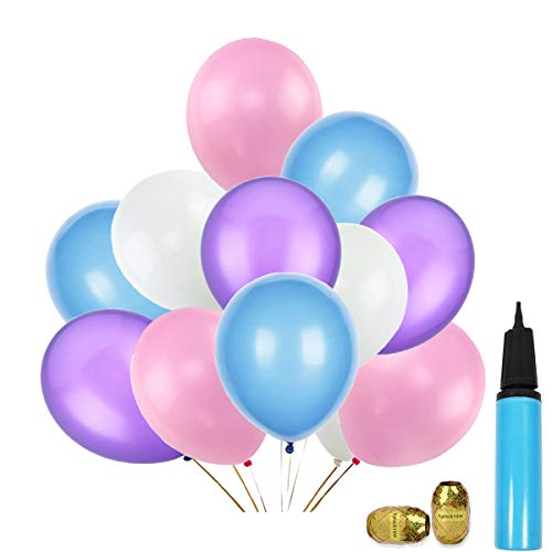 12 Inch Unicorn Balloons Pink White Purple Light Blue Assorted Latex Balloons for Unicorn Parties, Birthdays, Baby Shower, Wedding Supplies and Decorations- 100 pcs with a Air Pump ()