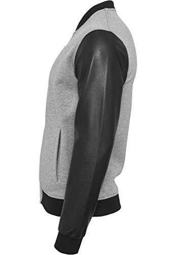 Zipped Leather Imitation Sleeve Jacket gry/blk L