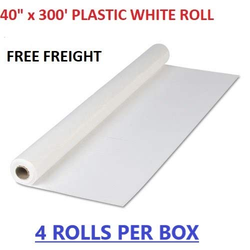 (Quality Supplies Direct Plastic Party Banquet Disposable Tablecloth Roll, White - 40