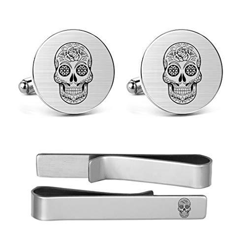 MUEEU Skull Cufflinks Hipster Pirate Skull Alternative Wedding Sugar Skull Wedding Cufflinks Gift, tie Bars and tie Clips (Round Skull Cufflinks & Tie Clip)