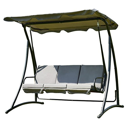 Tangkula 3 Person Patio Swing Outdoor Steel Swing Chair (Gray) by Tangkula
