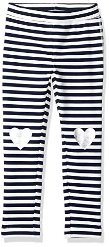LOOK by Crewcuts Girls' Cozy Legging, Navy Stripe Hearts, Small (6/7)