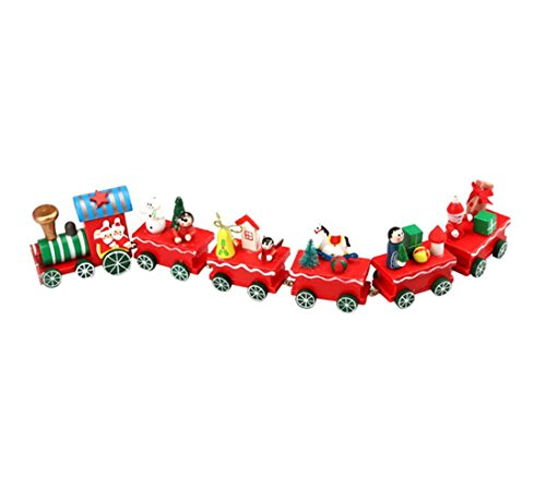 FEITONG 6 Pieces/set Wood Christmas Xmas Train Decoration Decor Gift (Train Xmas)
