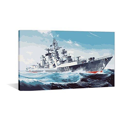 Diy Painting Paint by Numbers For Adults K it Wall Art-Military Warships 16x20 inch