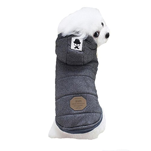 Cheap Pet Clothes, Howstar Puppy Classic Hoodie Sweater Dog Winter Sweatshirt Warm Soft Doggie Apparel (Grey, M)