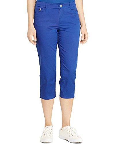 [Lauren Ralph Lauren Women's Stretch Twill Straight Leg Cropped Pants (8, College Royal)] (Stretch Twill Straight Leg Cropped Pants)