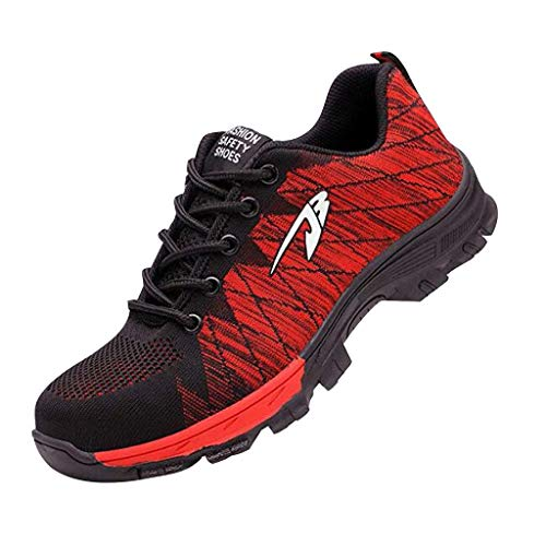 Steel Toe Shoes Men Women Safety Work Sneakers Outdoor Breathable Industrial Construction Non Slip Puncture Proof Composite Toe Shoes (Red, US 6)