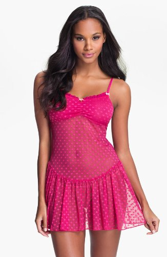 BETSEY JOHNSON 'HEART' MESH SLIP (LARGE, CANDY APPLE)