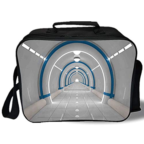 Outer Space Decor 3D Print Insulated Lunch Bag,Galaxy Textured Spaceflight Animation Flash Force Travel Static Image,for Work/School/Picnic,Gray Blue