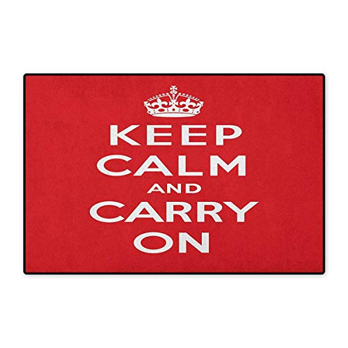 Keep Calm,Door Mats for Inside,Red and White Composition with Keep Calm and Carry On Text and a Royal UK Crown,3D Digital Printing Mat,Red White,Size,20