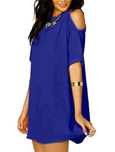 Colore Donne Larghi Pattern1 Vestito Manica Corta Coolred Tunica Chiffon Delle casuale Puro wAEnSY