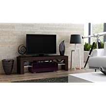 "TV Stand MILANO 130 / Modern LED TV Cabinet / Living Room Furniture / Tv Console fit for up to 55"" flat TV screens / Capacity Tv Console for Modern Living Room (Wengue & Purple)"
