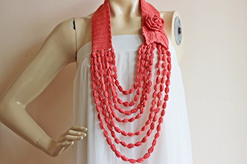 Handmade Coral Rose Necklace-Coral Crochet Necklace-Flower Necklace Scarf- Jewelry Scarf Loop Scarf -Cotton Summer Scarf-Coral Red Scarf -Vegan Scarf