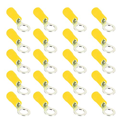"""ESUPPORT 100Pcs Yellow 1/4"""" Copper Ring Insulated Terminal Connectors 10-12 Ga Crimp Wire Electrical Cable Kit Quick Splice M6"""