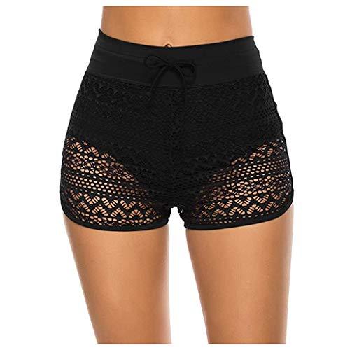 HIGOU Badpak zwembroek dames hipster bikini broek met plooien effen kleuren bikinibroek hoge taille ruches broek hoge…