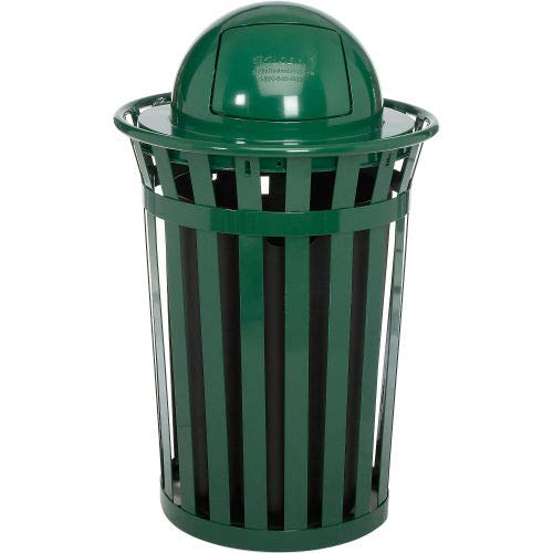 Global Industrial Outdoor Metal Slatted Trash Receptacle with Dome Lid - 36 Gallon Green