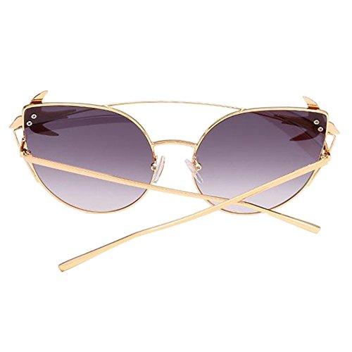 Uv400 Air beams En Voyageant Moderne Chat Mode Oeil Plein Lunettes Métal Deylaying Noir Eyewear Twin Protection Glasses De Soleil Armature 6vaWq