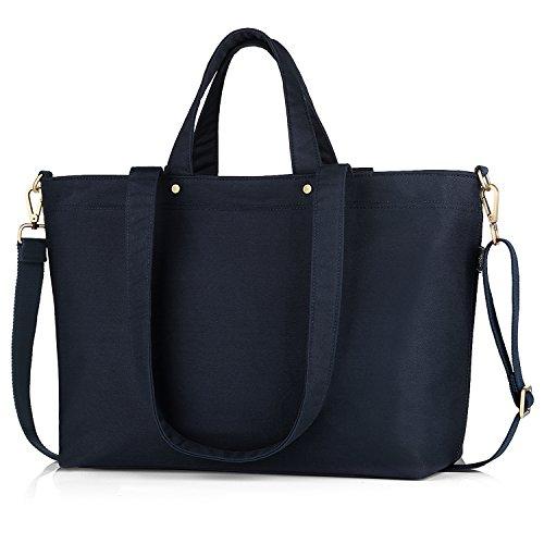 BONTHEE Canvas Tote Bag Handbag Women Large Shopper Shoulder Bag for School Travel Work 4 Blue