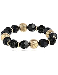 "1928 Jewelry ""Le Marais"" Gold-Tone Black Beaded Stretch Bracelet"