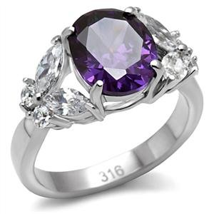 Women's Stainless Steel 6.2 ct. Cubic Zirconia Purple Oval and Clear Butterfly Ring (Ring Embellished Butterfly)