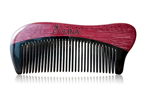 Unique Gift - Olina No Static Handmade Premium Quality Natural Black Ox Horn & Purple Heart Wood Hair Comb(Narrow-tooth, Black Ox Horn & Purple Heart Wood - Whale, 4.7'') (Horn Heart)