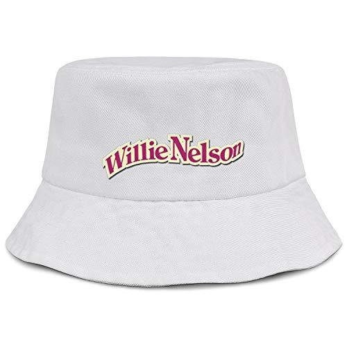 Unisex White Baseball Bucket Hat for Mens Womens Willie-Nelson-red-Logo- Travel Cap Hat