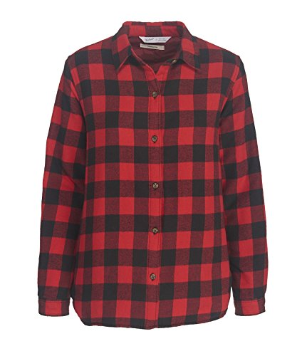 Woolrich Buffalo Check (Woolrich Women's Pemberton Insulated Flannel Shirt Jac, Red-Buffalo Check (Red), Size L)
