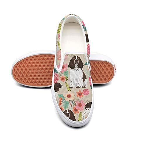 kjeqewfda English Springer Dog Vintage Floral FashionWalking Shoes Women's Low Top Lightweight Canvas Sneaker