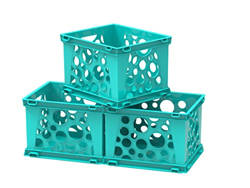 Storex Mini Crate, 9 x 7.75 x 6 Inches, School Teal, Case of 3 (Filing Crates)