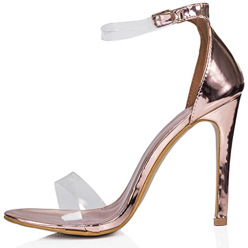 SPYLOVEBUY MISRI Women's Open Peep Toe Barely There High Heel Stiletto Sandals Pumps Shoes Gold Patent
