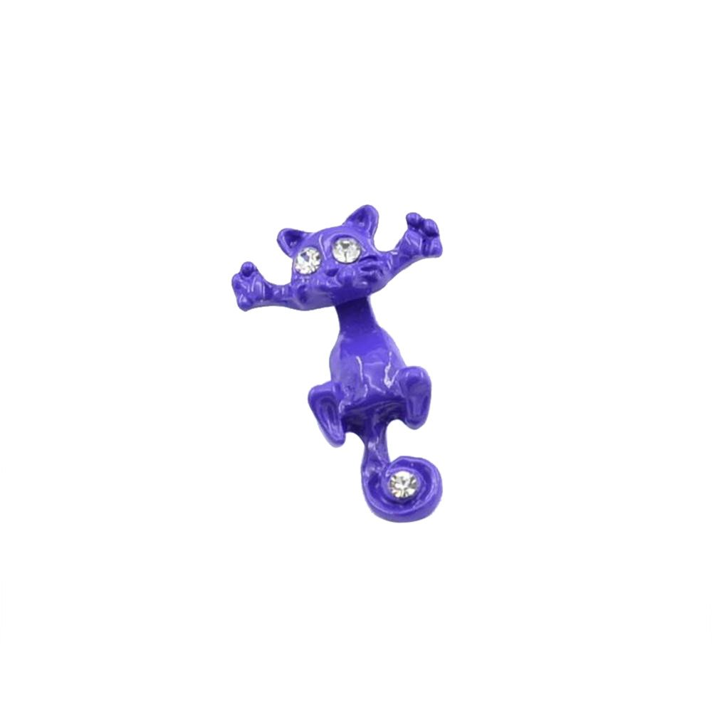 FTXJ Earrings Creative Animal Cartoon Cat Cat Kitten Women's Cute Cat Ear Studs (1PCS, Purple A)