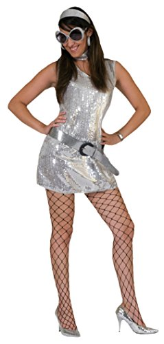 Funny Fashions Womens Retro Silver Disco Dress Theme Party Halloween Costume, L (14-16)