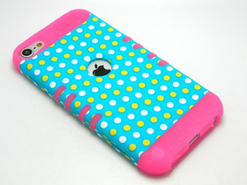CellPhone Trendz Hybrid 2 in 1 Case Hard Cover Faceplate Skin Pink Silicone and Yellow White Blue Light Polka Dots Snap Protector for Apple iPod iTouch 5 (5th Generation)