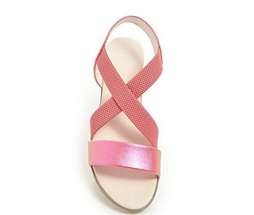 rosa 34 Donna da Piatto Antiscivolo Casual Fondo Sandali 2cm Elastico Comodo WEIQI 41 Antiscivolo Z1UwOqnP