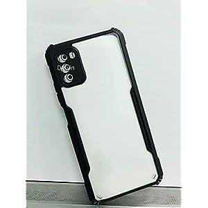 Dervin Back Cover Case for Poco M3 Pro 5G Shockproof | Crystal Clear | Hybrid TPU & PC | Transparent Back (Black Bumper)